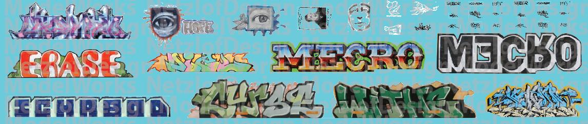 HO Scale - Modern Large Graffiti Set 2