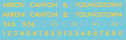 HO Scale - Akron Canton & Youngstown Blue/Yellow Locomotive decals