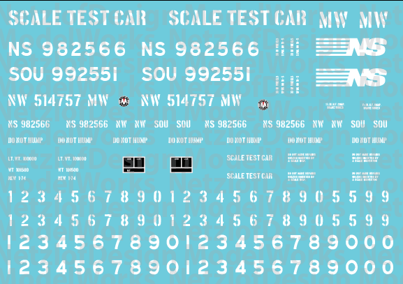 HO Scale - Norfolk Southern Scale Test Car Decal Set