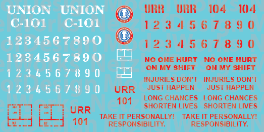 HO Scale - Union Railroad Caboose Decals