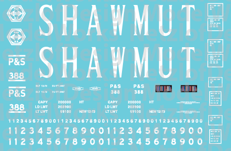 HO Scale - Pittsburg Shawmut 15 Panel Hoppers - Serif Lettering Decals