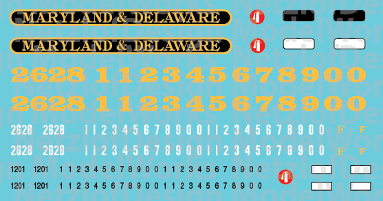 N Scale - Maryland & Delaware Locomotive Decals