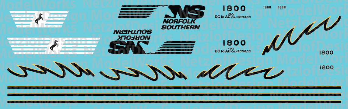 N Scale - Norfolk Southern SD70ACC #1800 Decal Set