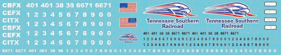 HO Scale - Tennessee Southern Railroad Locomotive Decals