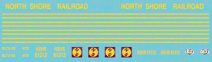 HO Scale - North Shore Railroad (NSHR) Caboose Decals