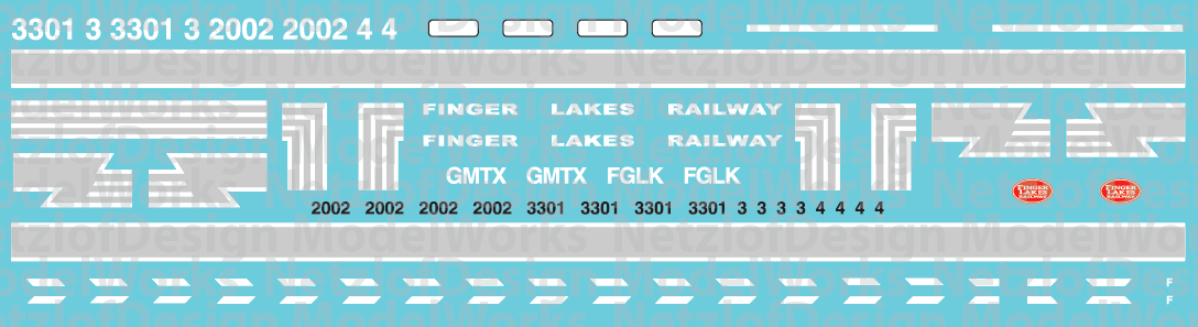N Scale - Finger Lakes Railway SD and GP38s Locomotive Decal Set