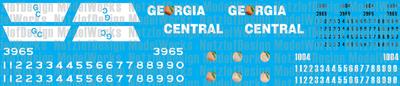 Georgia Central Railroad Decal set, Black and White Paint Scheme