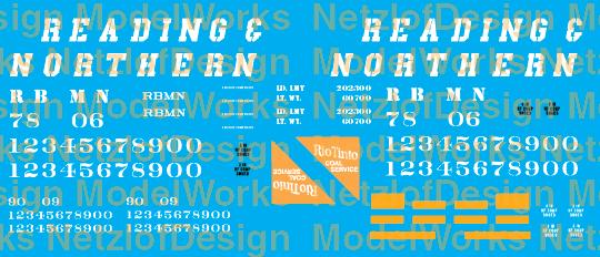"""Reading Northern """"Rio Tinto Coal Service"""" Coal Hopper Decals (RBMN)"""