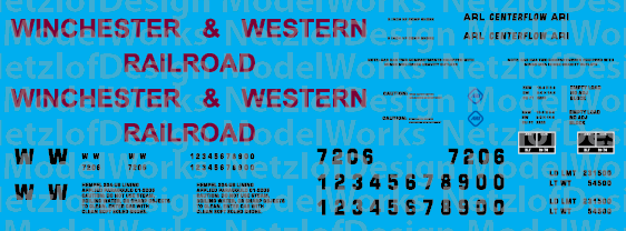 Winchester & Western Railroad 2-bay Centerflow Text Only Decal Set