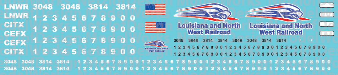 N Scale - Louisiana & North West Railroad Locomotive Decals