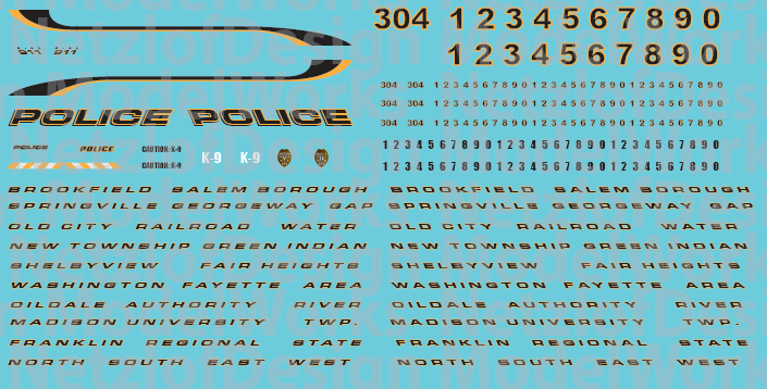 HO Scale - Generic Police Vehicle Decals Black
