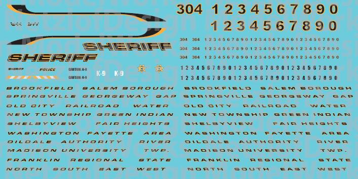 N Scale - Generic Sheriff Vehicle Decals - Black