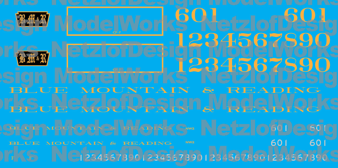 Blue Mountain and Reading Diesel Locomotive Decal Set