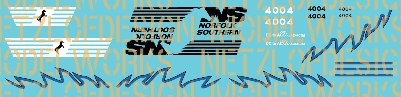 HO Scale - Norfolk Southern AC44C6M Decal Set #4004/4005 (Black/Blue)