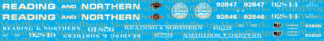N Scale - Reading Blue Mountain & Northern Caboose Decal Set - RBMN RN Cabin