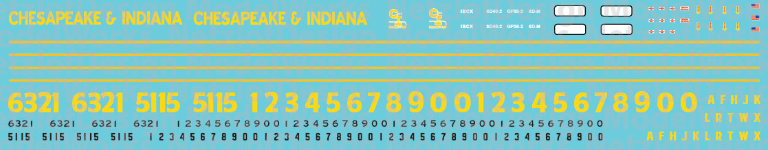 N Scale - Chesapeake & Indiana Railroad Locomotive Decals