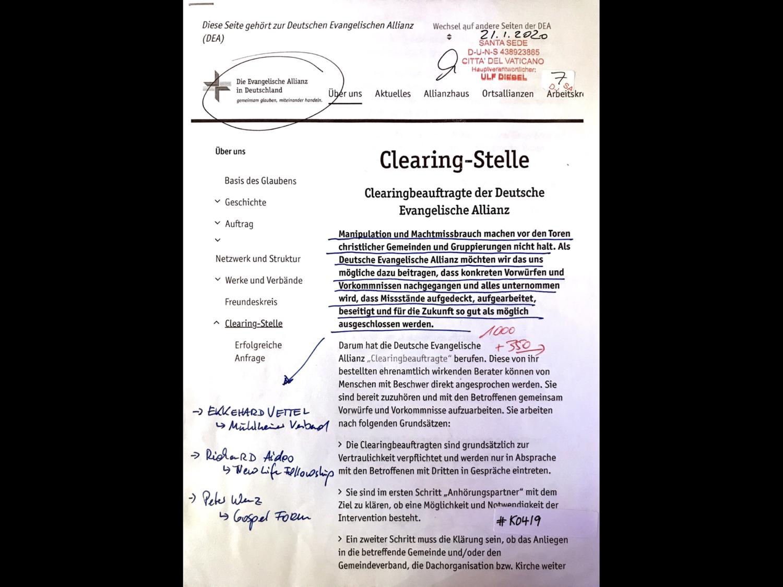 #K0419 l Die Deutsche Evangelische Allianz Deutschland - Clearing-Stelle l Santa Sede - Hauptverantwortlicher Ulf Diebel