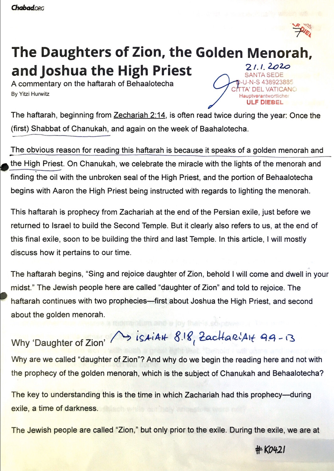 #K0421 l The Daughters of Zion, the Golden Menorah, and Joshua the High Priest, Chabad.org l Santa Sede - Hauptverantwortlicher Ulf Diebel