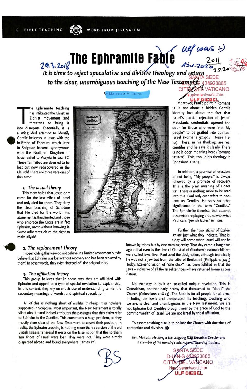 #K0422 l Word from Jerusalem - The Ephramite Fable by Malcom Hedding l Santa Sede - Hauptverantwortlicher Ulf Diebel