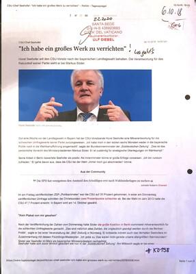 """#K0158 l """"Ich habe ein großes Werk zu verrichten"""" - CSU-Chef Seehofer l Santa Sede - Hauptverantwortlicher Ulf Diebel"""