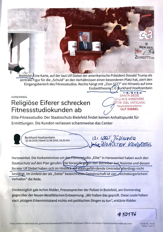 #K0176 l Neue Westfälische l Harsewinkel - Religiöse Eiferer schrecken Fitnessstudiokunden ab