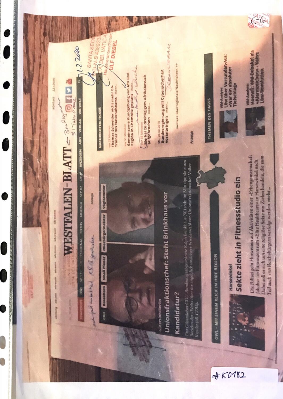 #K0182 l Westfalen-Blatt l Gütersloh/Berlin - Unionsfraktionschef: Steht Brinkhaus vor Kandidatur? ll Harsewinkel - Sekte zieht ins Fitnessstudio ein