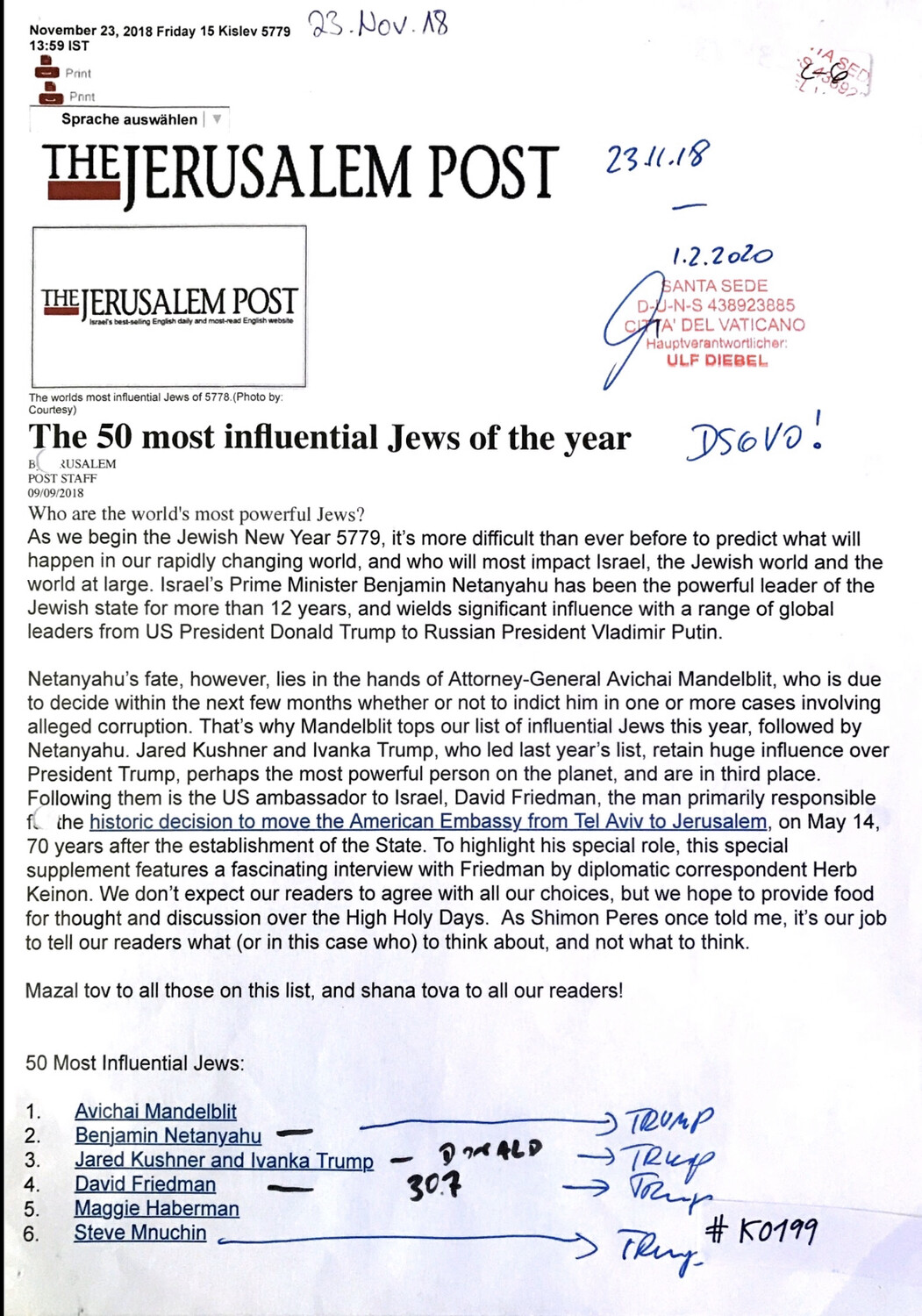 #K0199 l The Jerusalem Post - The 50 most influential Jews of the year
