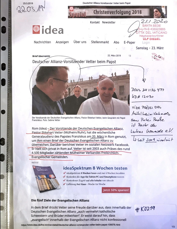 #K0219 - idea l Deutscher Allianz-Vorsitzender Vetter beim Papst