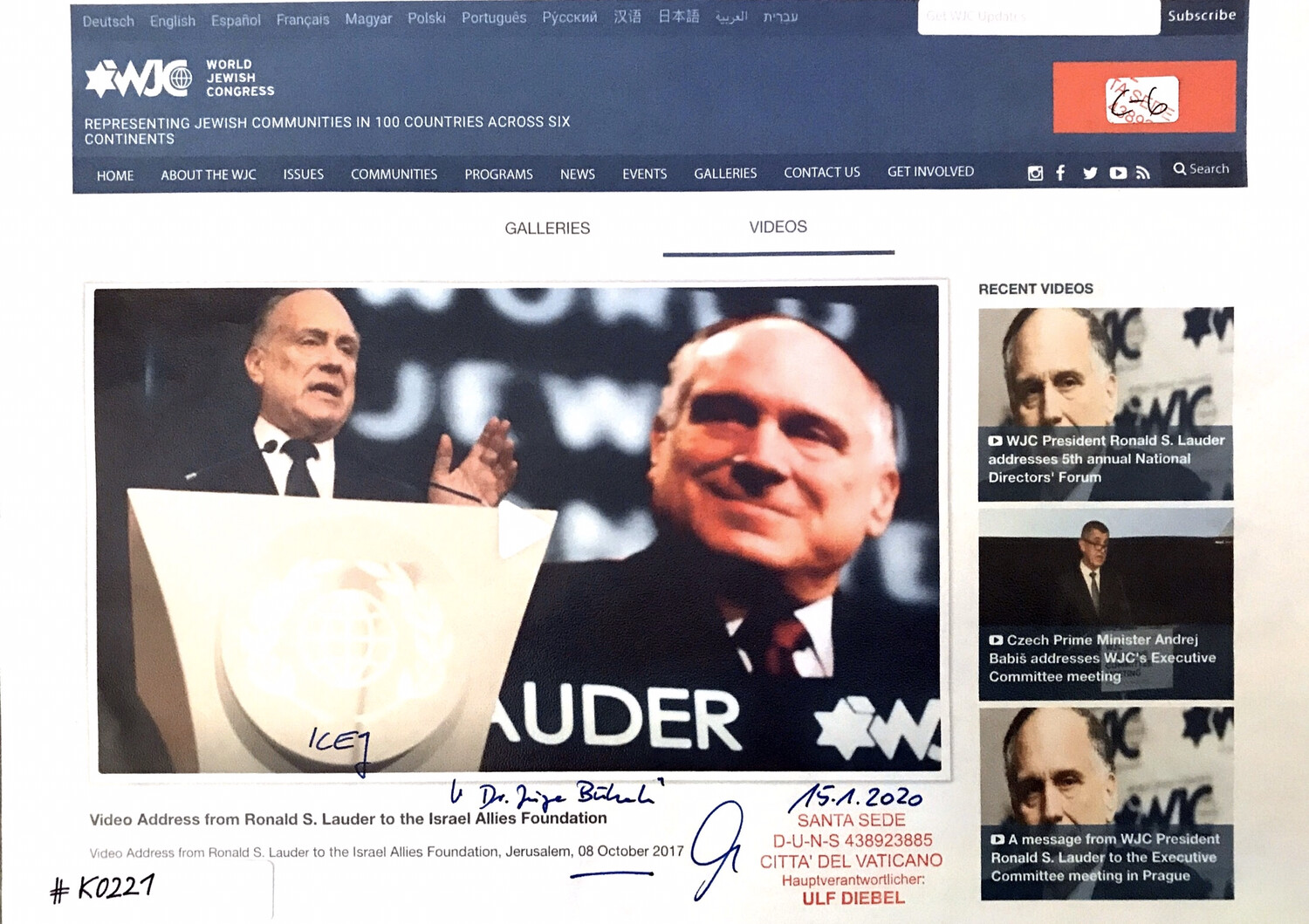 #K0221 l World Jewish Congress - Video Address from Ronald S. Lauder to the Israel Allies Foundation