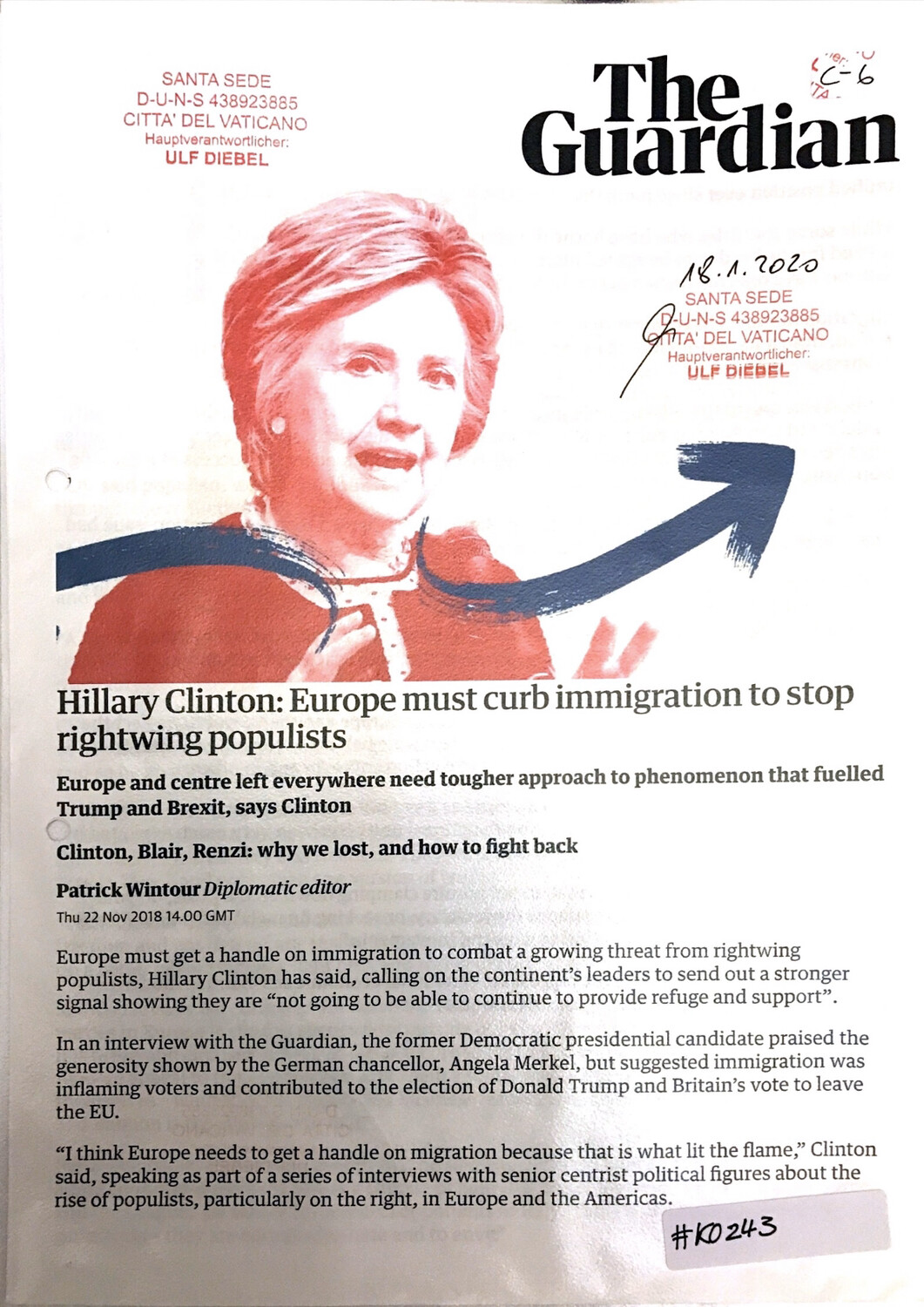 #K0243 - The Guardian - Hillary Clinton: Europe must curb immigration to stop rightwing populists