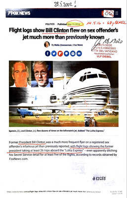 #K0255 l FoxNews - Flight logs show Bill Clinton flew on sex offender's jet much more than previously known