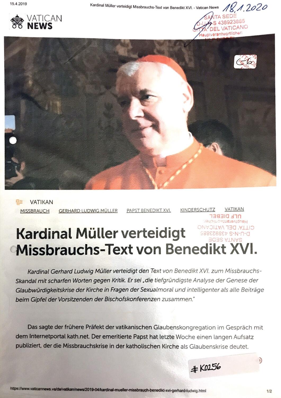 #K0256 l Vatican News - Kardinal Müller verteidigt Missbrauchs-Text von Benedikt XVI.