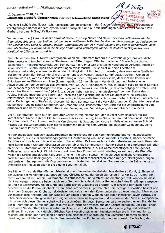 """#K0260 l """"Deutsche Bischöfe überschreiten klar ihre lehramtliche Kompetenz"""""""
