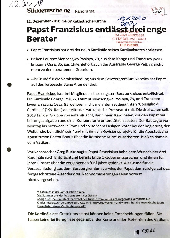 #K0266 l Süddeutsche.de - Papst Franziskus entlässt drei enge Berater
