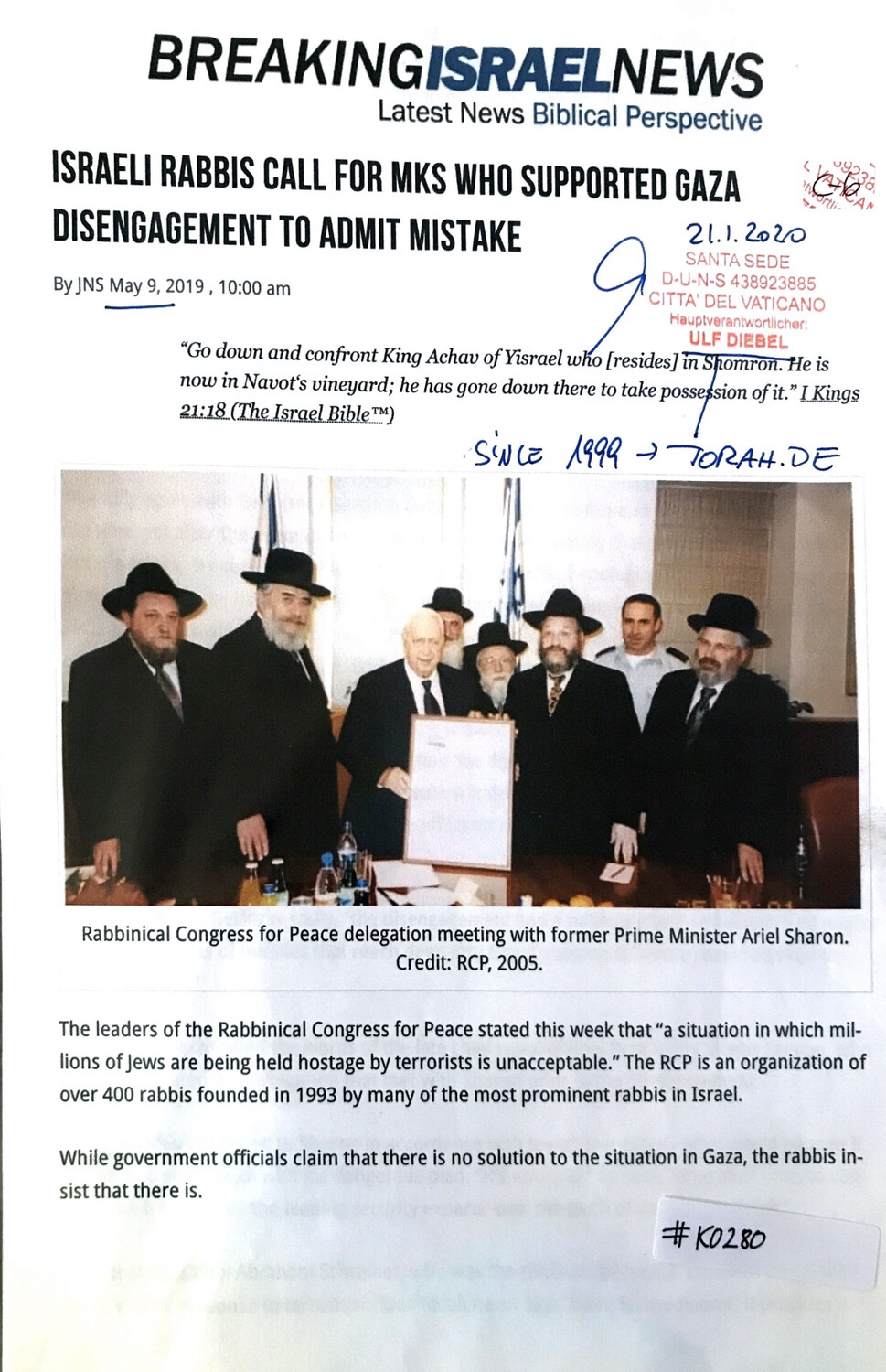 #K0280 l Breaking Israel News - Israeli Rabbis calls for Mks who supported Gaza disengagement to admit mistake