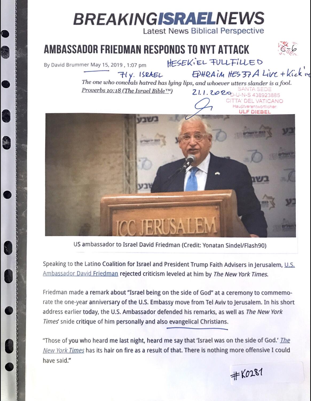 #K0281 l Breaking Israel News - Ambassador Friedman responds to NYT attack