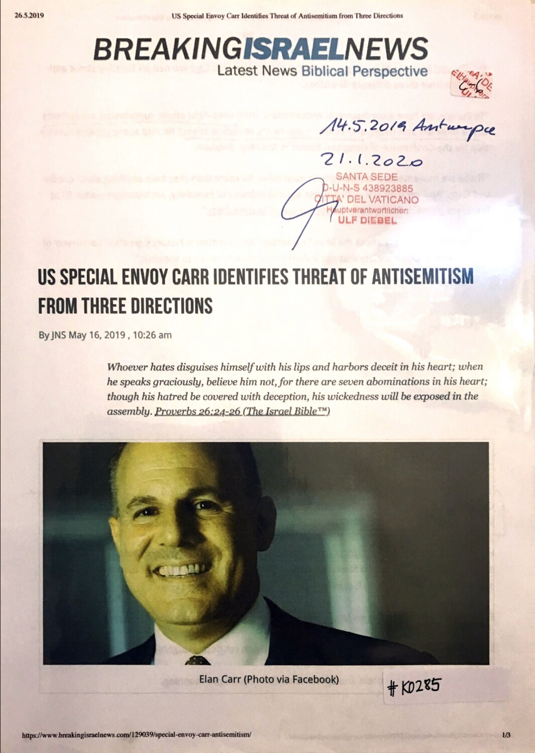#K0285 l Breaking Israel News - US Special Envoy Elan Carr identifies threat of antisemitism from three directions
