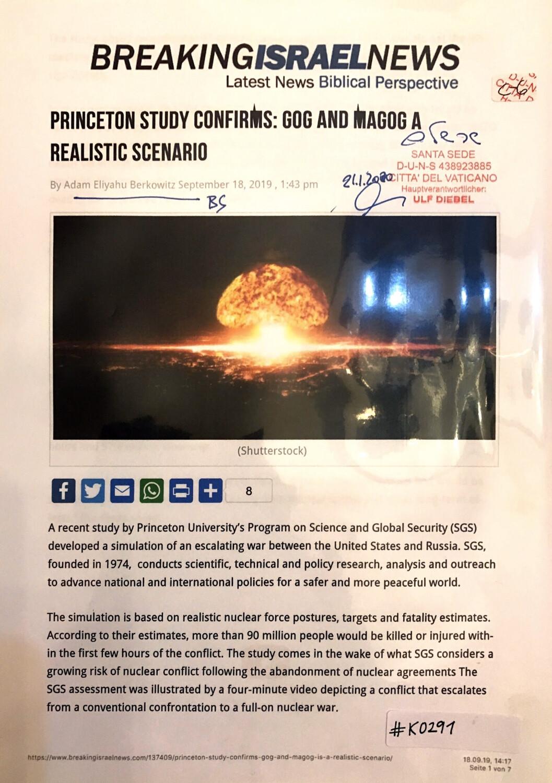 #K0291 l Breaking Israel News - Princeton study confirms: Goc and Magog a realistic scenario