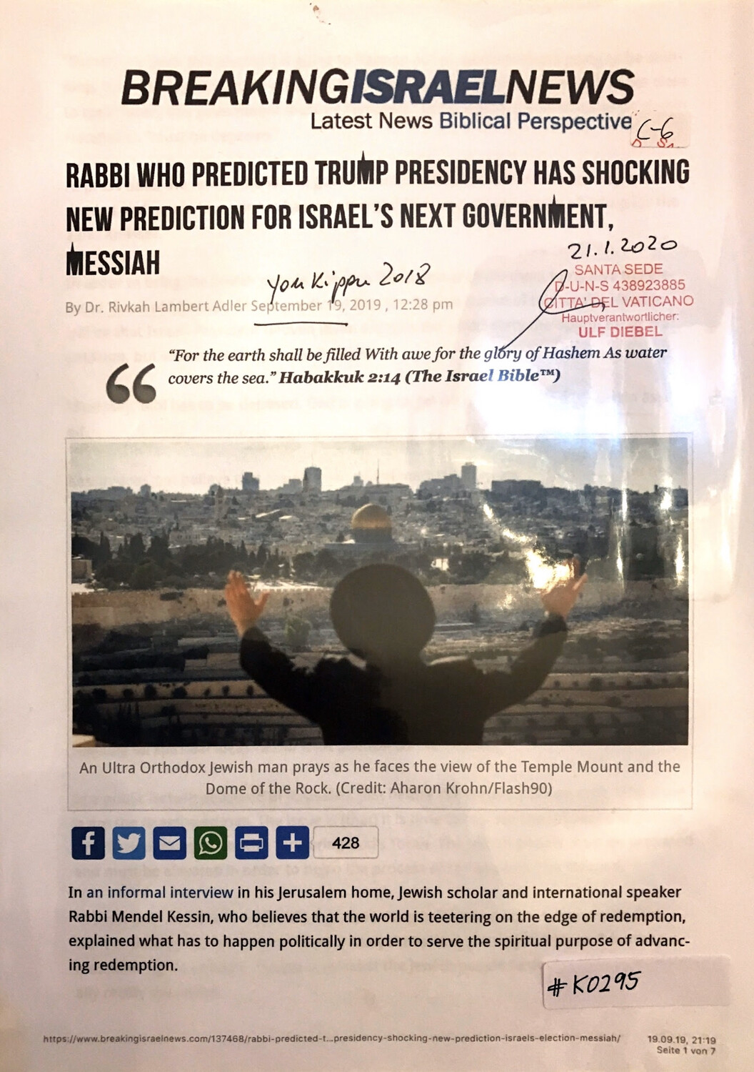 #K0295 l Breaking Israel News - Rabbi who predicted Trump presidency has shocking new prediction for Israel's next government, Messiah