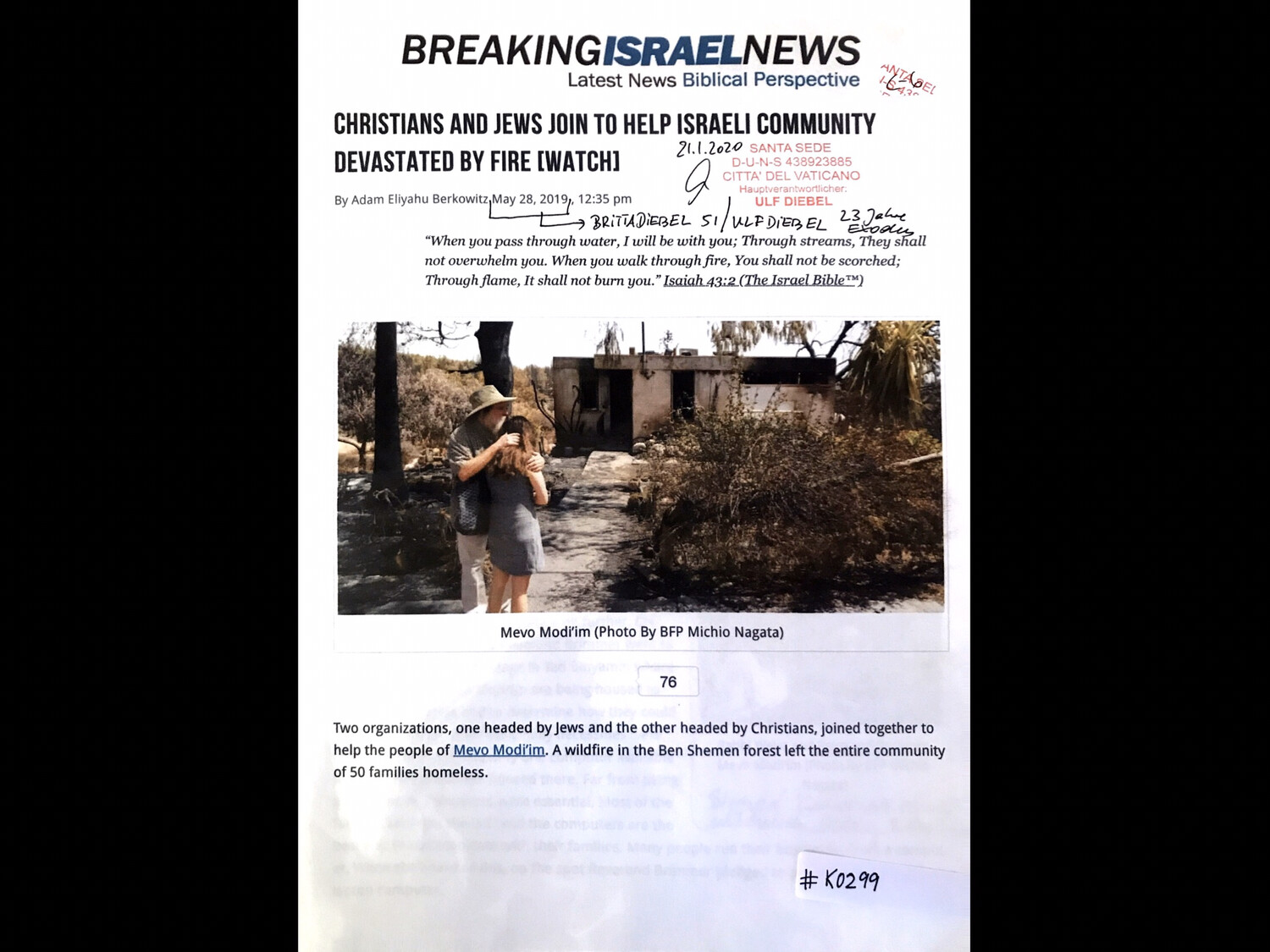 #K0299 l Breaking Israel News- Christians and Jews join to help Israeli community devastated by fire (watch)