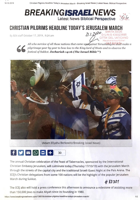 #K0301 l Breaking Israel News - Christian Pilgrims headline today's Jerusalem March
