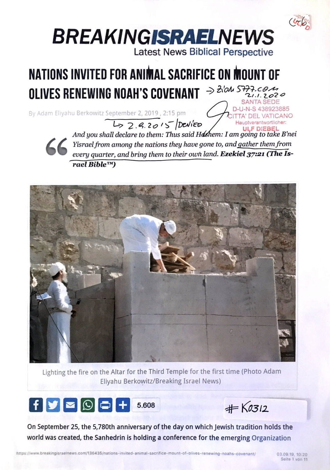 #K0312 l Breaking Israel News - Nations invited for animal sacrifice on Mount of Olives renewing Noah's Covenant