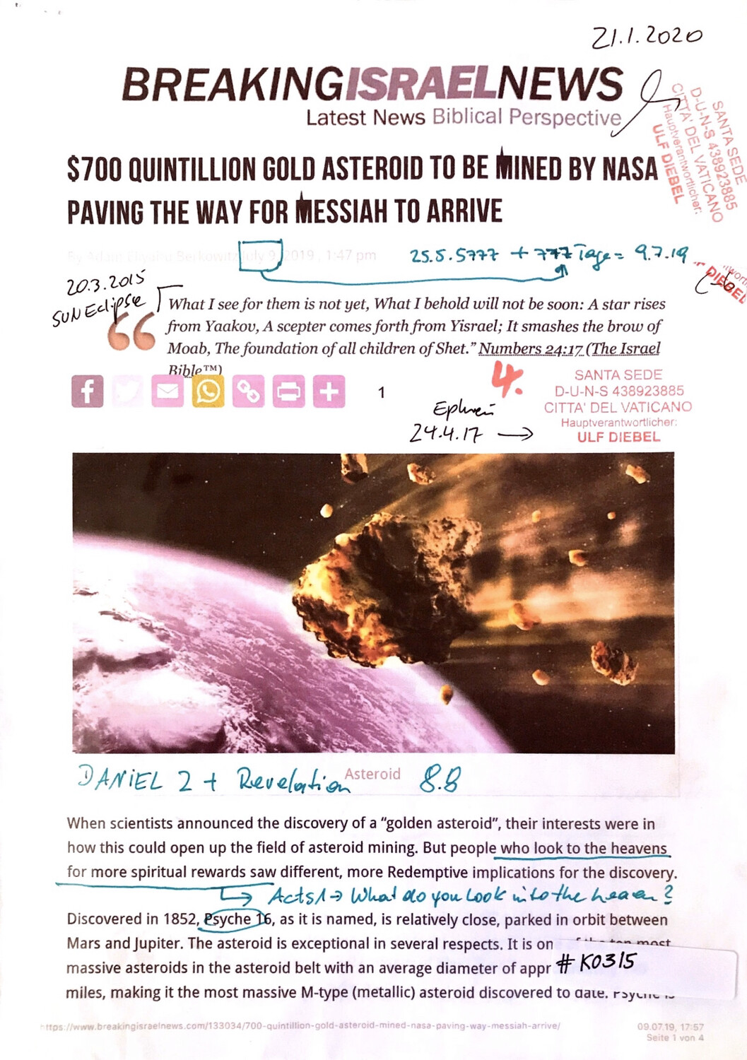 #K0315 l 700 Quintillion Gold asteroid to be mined by Nasa paving the way for Messiah to arrive