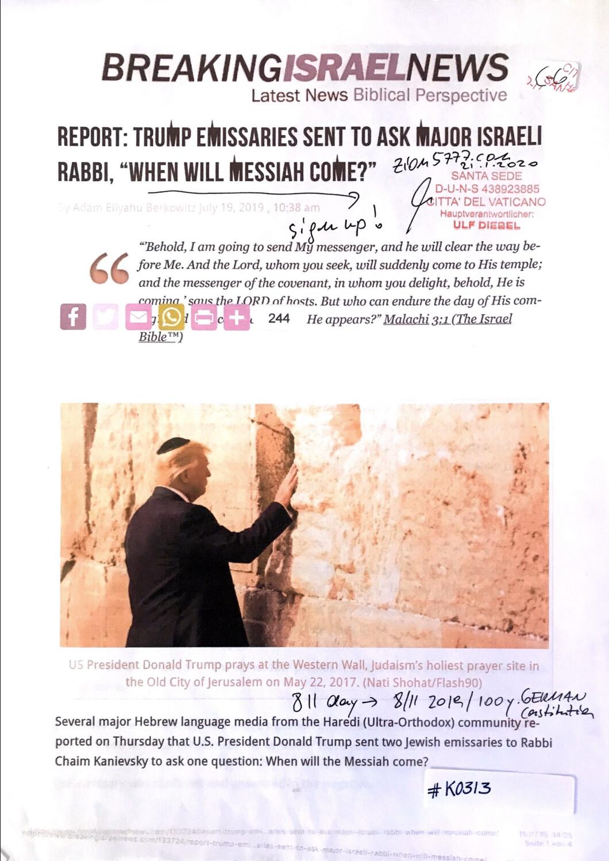 "#K0313 l Breaking Israel News - Report: Trump emissaries sent to ask major Israeli Rabbi, ""When will Messiah come?"""
