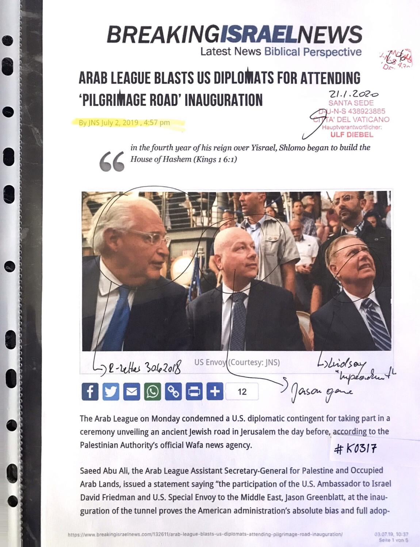 #K0317 l Breaking Israel News - Arab League blasts us diplomats for attending 'Pilgrimage Road' inauguration