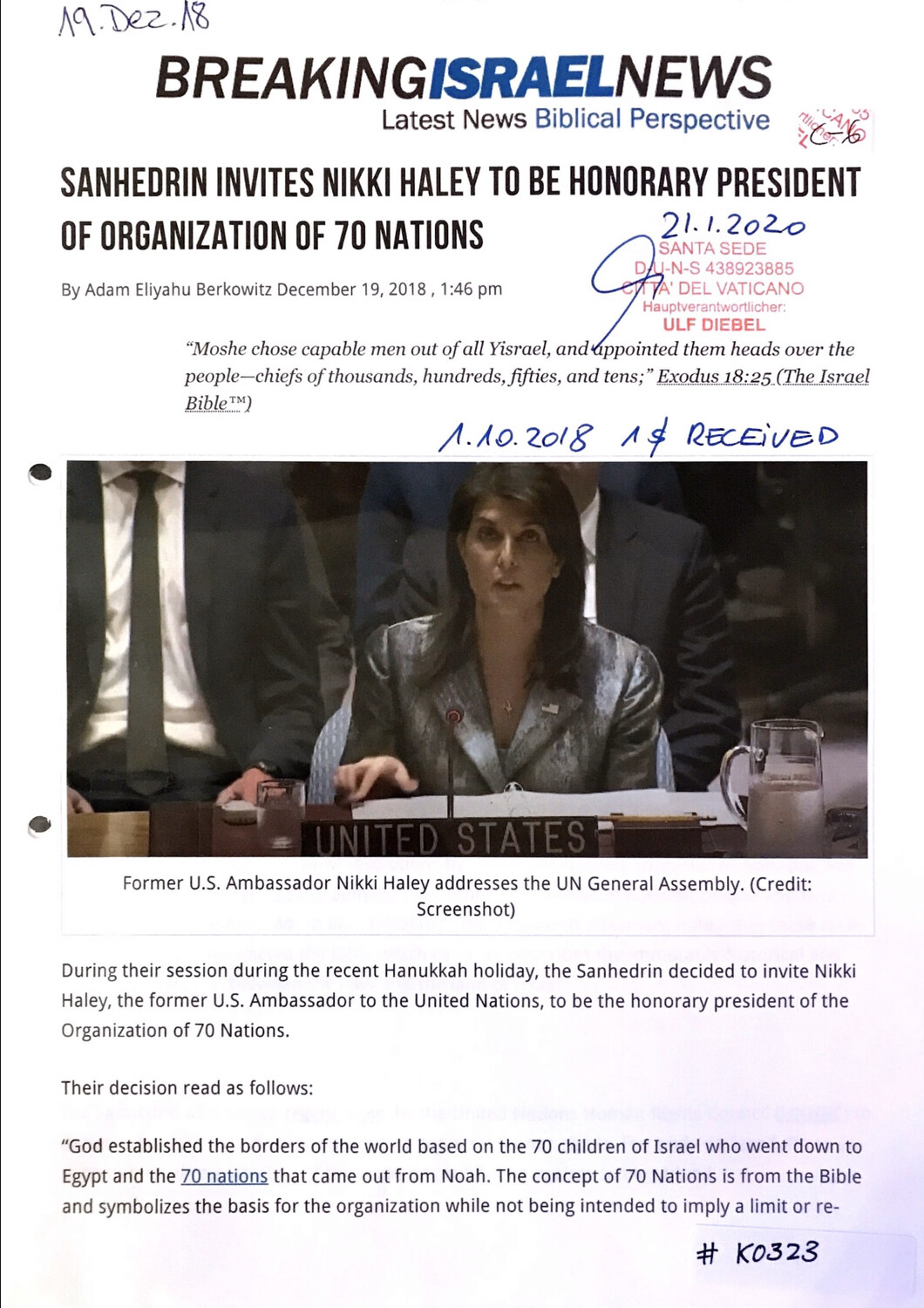 #K0323 l Breaking Israel News - Sanhedrin invites Nikki Haley to be honorary President of organization of 70 nations