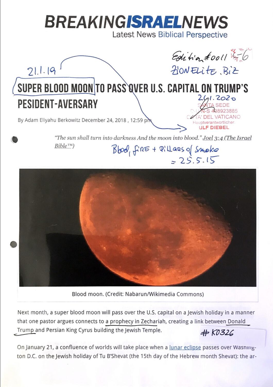 #K0326 l Breaking Israel News - Super Blood Moon to pass over U.S. Capital on Trump's Pesident-Aversary