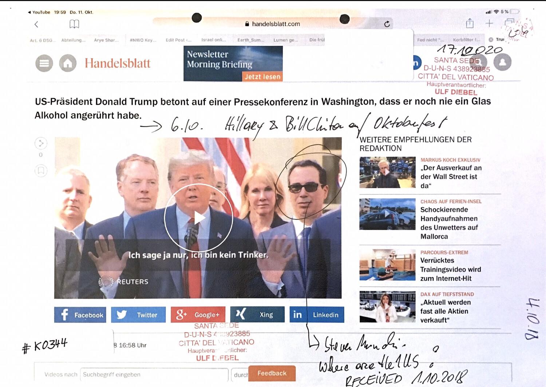 #K0344 l Handelsblatt - US-Präsident Donald Trump betont auf einer Pressekonferenz in Washington, dass er noch nie ein Glas Alkohol angerührt habe.