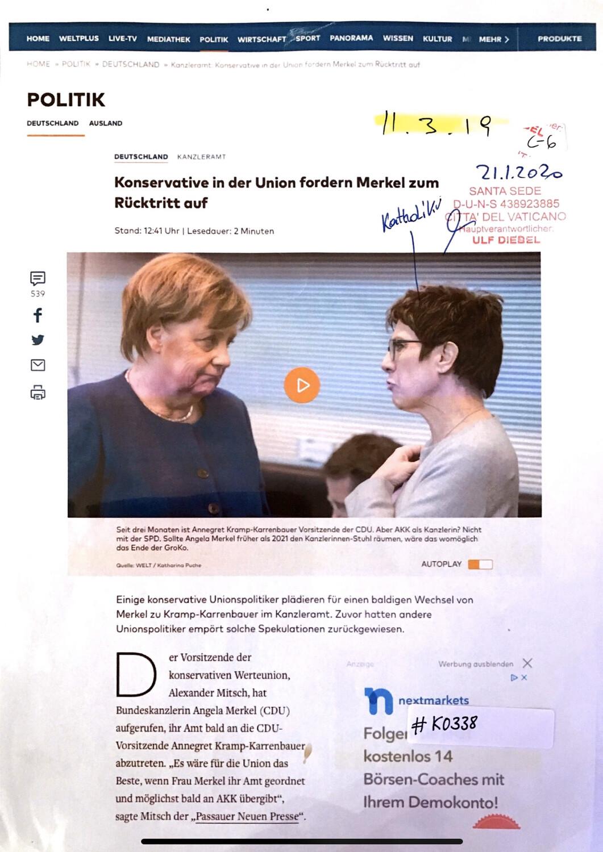 #K0338 l Welt - Konserative in der Union fordern Merkel zum Rücktritt auf