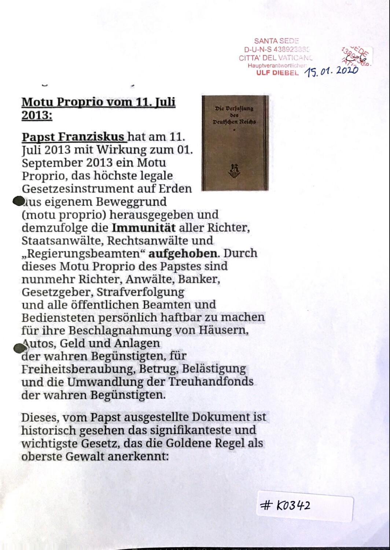 #K0342 l Motu Proprio vom 11.Juli 2013 - Papst Franziskus